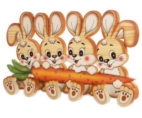 Houten kapstok 4 konijnen met 6 knoppen   Bartolucci
