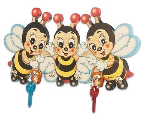 Houten (Sleutel) Kapstok 3 bijen   Bartolucci