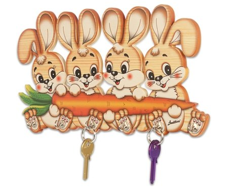Houten (sleutel) rekje 4 konijnen   Bartolucci