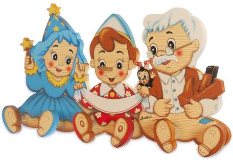 Kapstok Pinokkio Geopetto & Fee hout   Bartolucci
