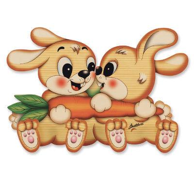 Houten kapstok 2 konijnen   Bartolucci