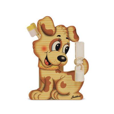 Houten tandenborstelhouder hond met zandloper | Bartolucci
