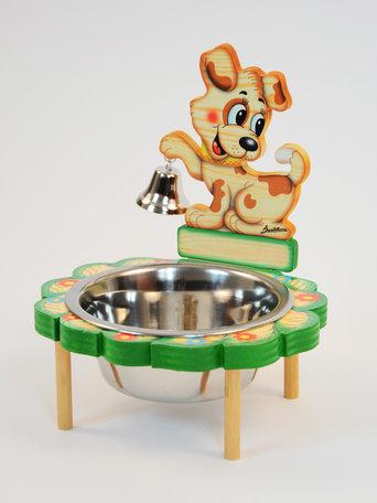 Honden voer / drinkbak hout met belletje   Bartolucci