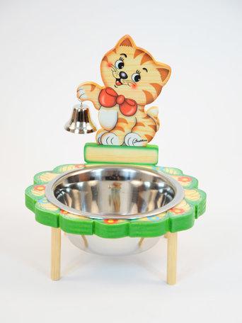 Poezen - Katten voer / drinkbak hout met belletje   Bartolucci