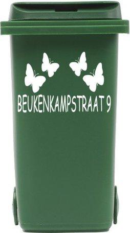 Sticker straatnaam + nummer vlinders voor kliko container | Rosami