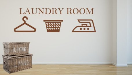 Sticker Laundry room   Wasmand   Strijkijzer   Hanger   Rosami