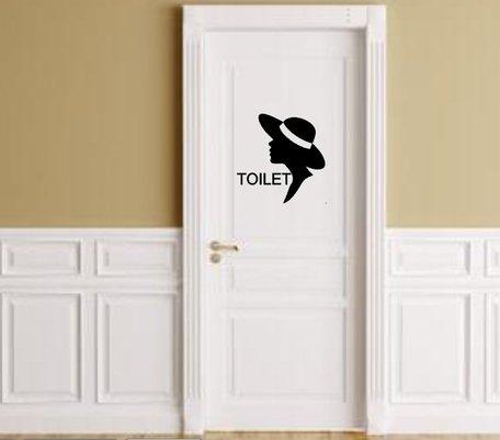 Sticker voor toilet dames met silhouette vrouw   Rosami