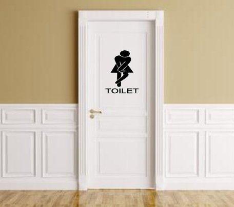 Sticker voor dames toilet vrouw met hoge nood   Rosami
