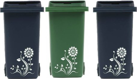 Voordeelset 3 x sticker kliko / container bloem met huisnummer   | Rosami