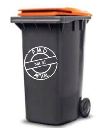 Sticker cirkel voor PMD kliko container met huisnummer | Rosami