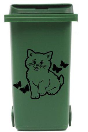 Voordeelset sticker kliko container 3 x Poes met vlinders zwart | Rosami