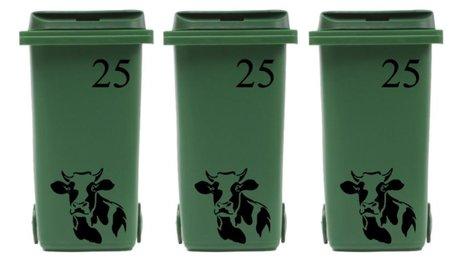 Voordeelset 6 x  sticker kliko/ container koe & huisnummer  | Rosami