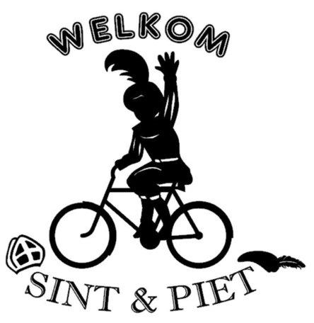 Raam / Muursticker Welkom Sint & Piet op de fiets | Rosami