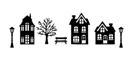 Basisset 1 raamsticker set straat met 3 huisjes Herbruikbaar statisch | Rosami