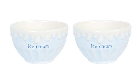 Set: 2 x ijsschaal / kom ice cream blauw