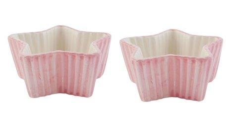Set: 2 x schaal / kom ster roze | Clayre & Eef