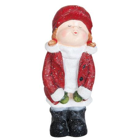 Beeld Meisje 43 cm 6PR0782 | Winter & Kerst decoratie | Clayre & Eef