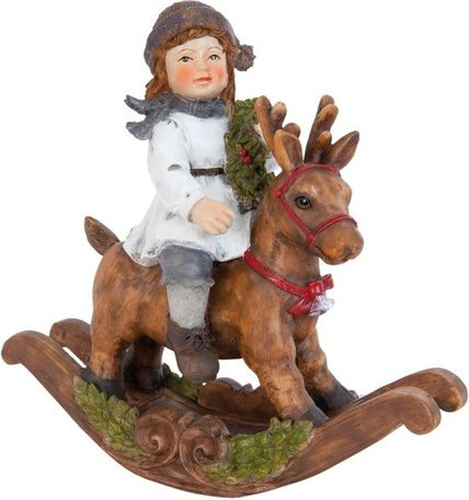 Meisje op rendier hobbelpaard | 6PR0794 | Winter & Kerst | Clayre & Eef