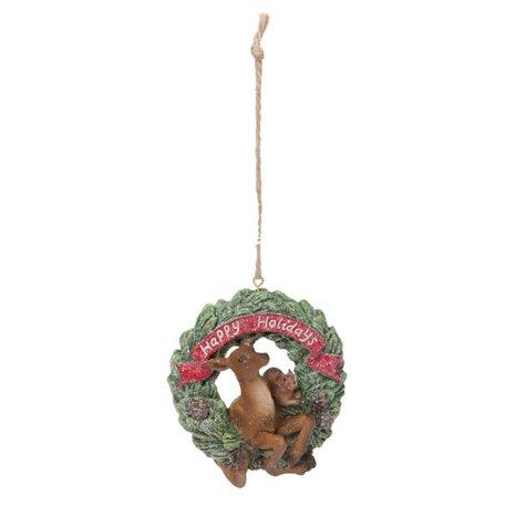 Hanger hert in krans 7 x 9 cm | 6PR1188 | Winter & Kerst | Clayre & Eef