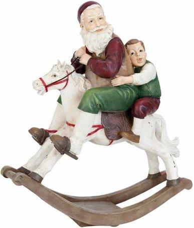 Kerstman & kind op hobbelpaard | 6PR0947 | Clayre & Eef