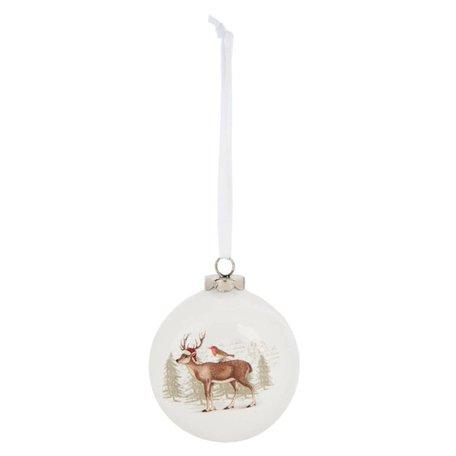 2 STUKS Kerstbal wit rendier | 6CE0732 | Winter & Kerst | Clayre & Eef