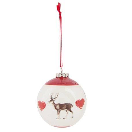 2 STUKS Kerstbal wit rood rendier | 6CE0736 | Winter & Kerst | Clayre & Eef
