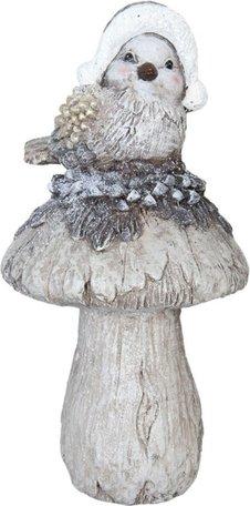 Beeld vogel op paddestoel 46 x 28 cm| 63466 | Clayre & Eef
