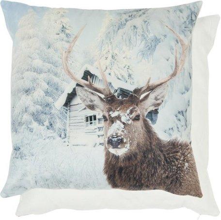 Kussenhoes hert in de sneeuw | KT021.076 | Clayre & Eef