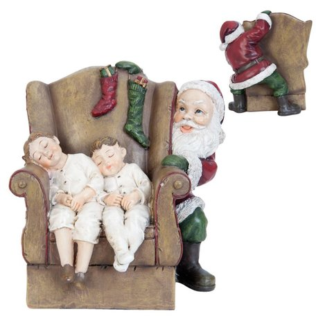 Kerstman achter stoel met kinderen    6PR0964   Clayre & Eef