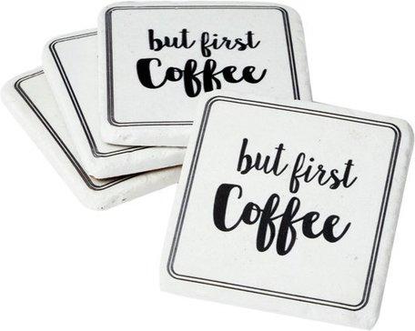 Onderzetter set van 4 - But first Coffee | 6PR1040 | Clayre & Eef