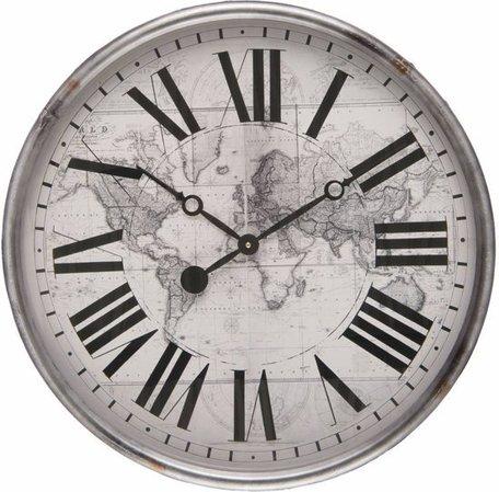 Klok wereldkaart rond grijs/zwart Ø 56 cm | 6kl0439 | Clayre & Eef