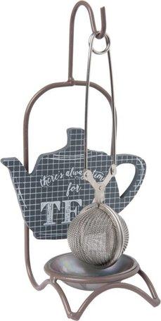 Thee filter / ei met houder grijs time for tea | Clayre & Eef