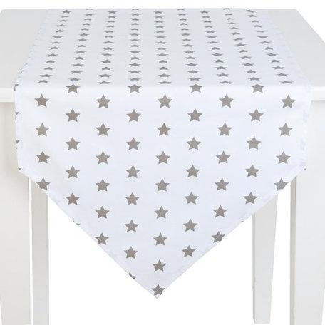 Tafelloper 50 x 160 wit met ster | CAS65TP | Clayre & Eef
