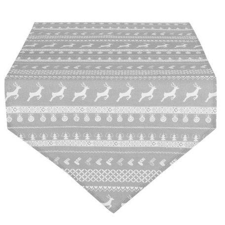 Tafelloper 50 x 160 grijs met rendier | NOG65 | Clayre & Eef