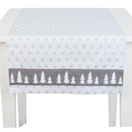 Tafelloper kerst 140 x 50 grijs/wit | LSH.64 | Clayre & Eef