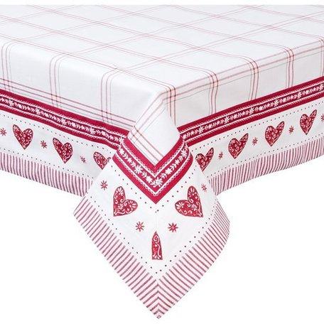 Tafelkleed 100 x100 wit/rood met hartjes | BOW.01 | Clayre & Eef