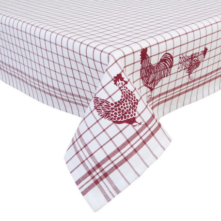 Tafelkleed 150 x 150 wit/rood met kip/haan | CSC15R | Clayre & Eef