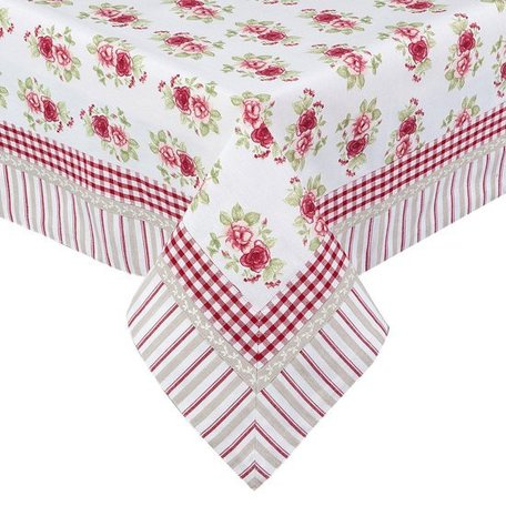 Tafelkleed 130 x 180 wit rode roosjes  | GAR03 | Clayre & Eef