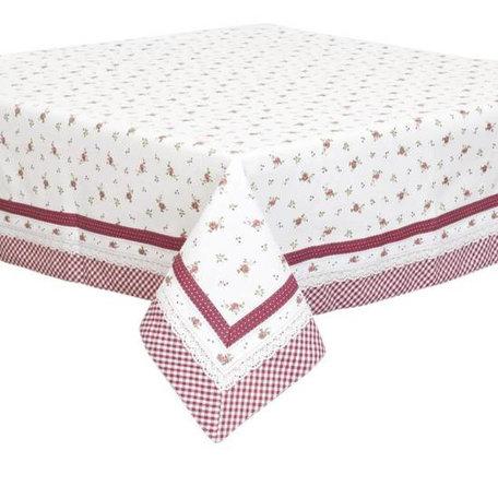 Tafelkleed 130 x 180 wit rode  kleine roosjes  | RPL03 | Clayre & Eef