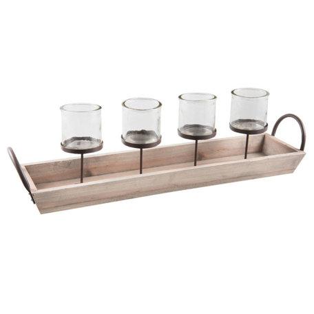 Plateau waxinelichthouder voor 4 kaarsen  | 5Y0372 | Clayre & Eef