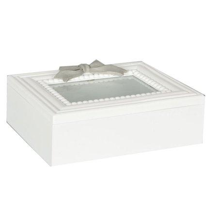 Opbergbox wit met grijze strik glazen venster | Clayre & Eef