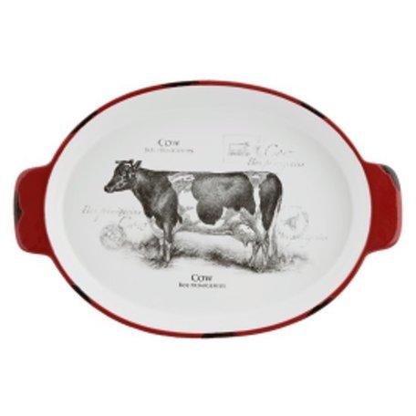 Schaal ovaal koe 30*20*4 cm / 0.6L Rood | CSAPSOC | Clayre & Eef