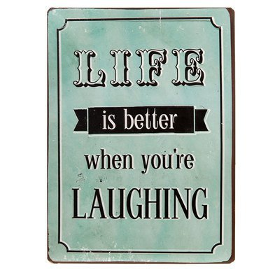 Tekstbord Life is better when you're laughing | 6Y2328 | Clayre & Eef
