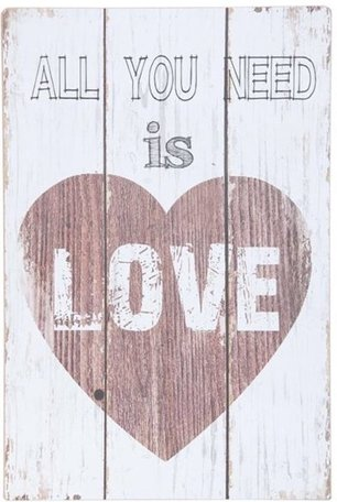 Tekstbord hout all you need is love | 5H0154 | Clayre & Eef