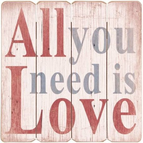 Tekstbord hout All you need is love 40 x 40 cm | 6H0709 | Clayre & Eef