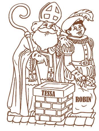 Raam / muur sticker Sint & Piet schoorsteen met naam | Rosami