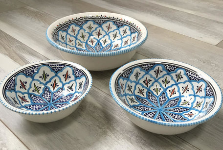 Salade set 3 delig Turquoise blue fine | TB.SK.3D | Dishes & Deco