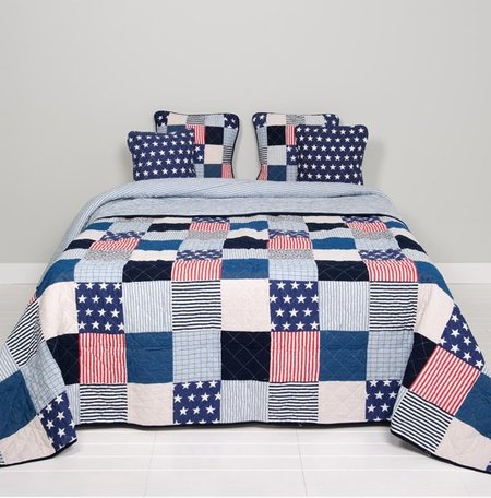Bedsprei stars en stripes 230 x 260 cm | Q058.061 | Clayre & Eef