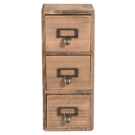 Mini ladekast 11*11*27 cm Bruin   6H1565   Clayre & Eef