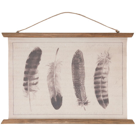 Wandkaart veren 69*2*50 cm Bruin | 5WK0008 | Clayre & Eef